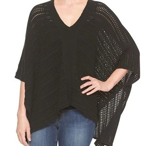 GAP Black Crochet Open Front Poncho Small Medium